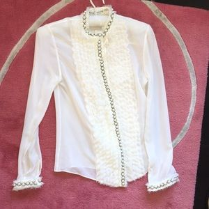 Alice and Olivia Chiffon Button Down with pearls